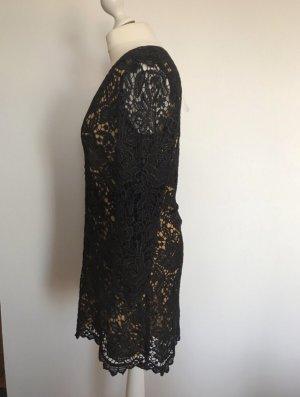 Ana Alcazar Vestido de encaje negro-color oro