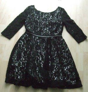 Guess Vestido de encaje negro-blanco puro