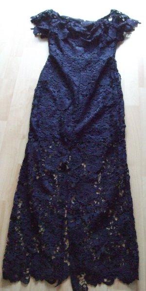 Paper Dolls Vestido de encaje azul oscuro Poliéster
