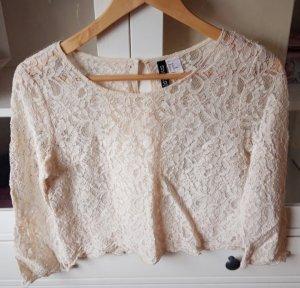 H&M Blusa in merletto crema-beige chiaro