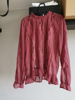 Vero Moda Blouse en dentelle rouge mûre-gris lilas