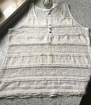 H&M L.O.G.G. Top di merletto bianco sporco-marrone scuro Cotone