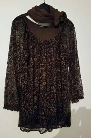 M&G Tunic Blouse dark brown mixture fibre