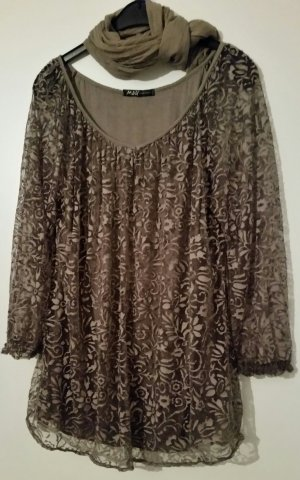 M&G Tunic Blouse grey brown mixture fibre