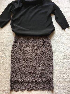 Kanten rok grijs-bruin