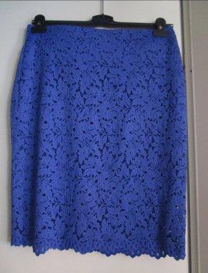 Falda de talle alto azul