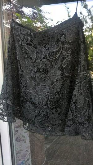Jupe en dentelle noir tissu mixte