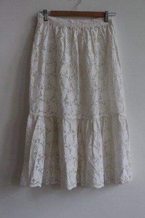 Falda acampanada blanco Algodón
