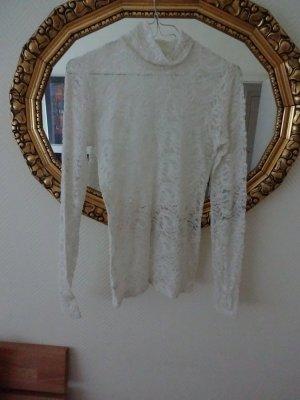 Top de encaje blanco puro-blanco tejido mezclado