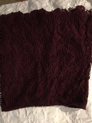 H&M Divided Lace Skirt bordeaux-dark brown