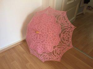 Spitzenschirm rosa/Holz