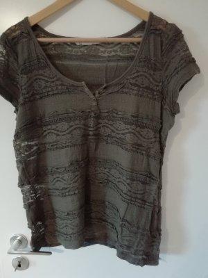 H&M Top di merletto marrone-grigio-marrone chiaro
