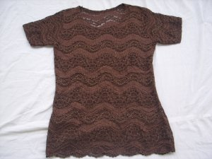 Crochet Shirt dark brown synthetic