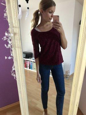 Spitzenshirt burgundy Bershka L