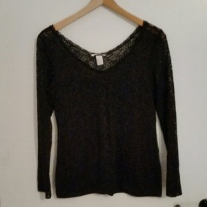 Spitzenshirt H&M V-Ausschnitt schwarz Gr. M