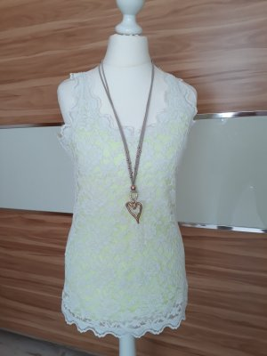 Street One Lace Top white-lime-green