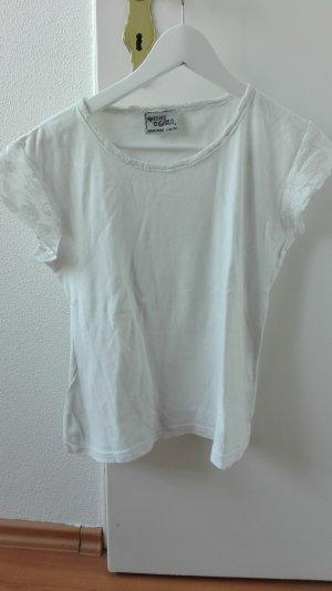 Spitzenshirt weiß Bordüre 40 L lace Spitze T-Shirt