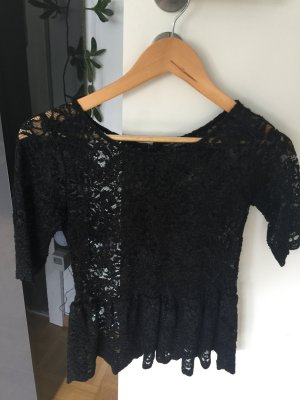 Zara Top en maille crochet noir polyester