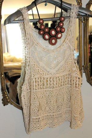 Vanilla Closet Knitted Top cream cotton