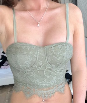 Lace Top khaki-sage green