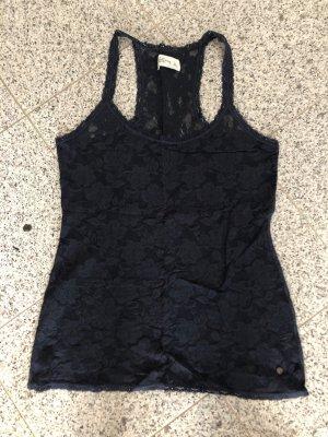 Abercrombie & Fitch Top de encaje azul oscuro
