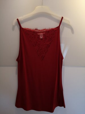 H&M Top de encaje rojo oscuro