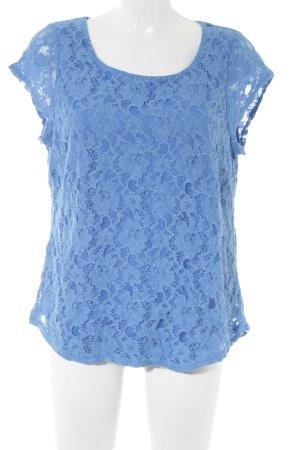 Top de encaje azul estampado floral estilo romántico