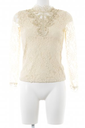 Lace Top gold-colored-cream floral pattern lace look