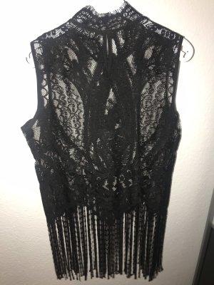 Zara Basic Top de encaje negro