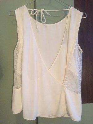 Zara Top de encaje blanco puro