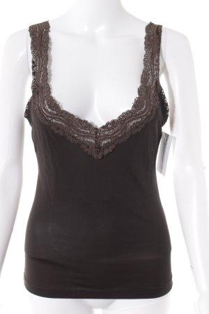 Top di merletto nero-marrone scuro elegante