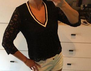 Spitzentop Spitzenshirt spitzenbluse schwarz weiß sporty kontraststreifen zara mango