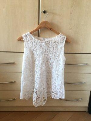 Zara Top de encaje blanco