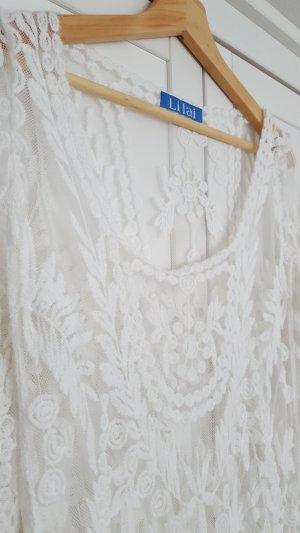 Top de encaje blanco-blanco puro