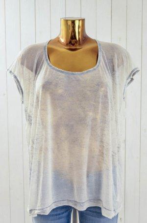 SPLENDID Damen T-Shirt U-Ausschnitt Kurzarm Hellgrau-Grau Batik Gr.M