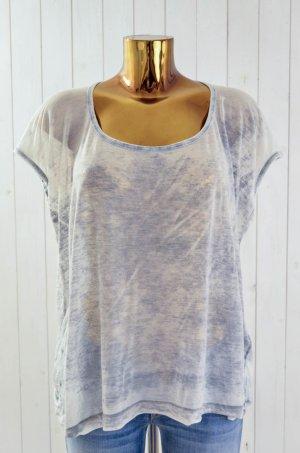 SPLENDID Damen T-Shirt U-Ausschnitt Kurzarm Hellgrau Grau Batik Gr.M