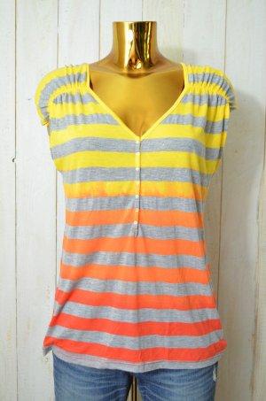 SPLENDID Damen T-Shirt V-Ausschnitt Knopfleiste Gestreift Bunt Baumwollgem Gr.L
