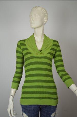 Splendid Langarmshirt Schalkragen grün gestreift neuwertig Gr. M