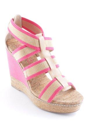 Splendid Plateauzool sandalen roze-beige gestreept patroon Beach-look