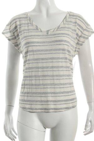 Splendid T-shirt rayé blanc cassé-gris clair motif tricoté lâche