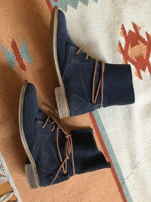 Spm Patucos con cordones azul oscuro-coñac