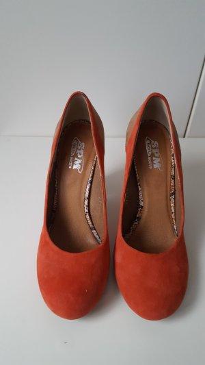 SPM orange block heel pumps, size 37