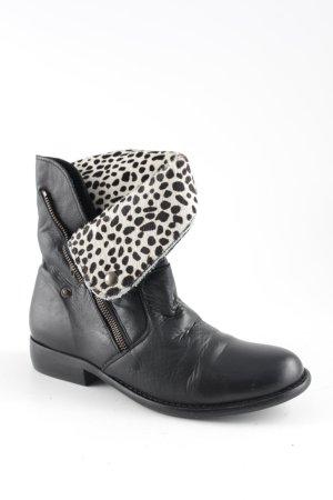Spm Reißverschluss-Stiefeletten schwarz-wollweiß Leomuster extravaganter Stil