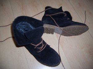 SPM Schuhe Schnür Stiefelette Boot schwarz Gr. 37 Wildleder