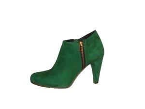 SPM Stiefeletten Ancle Boots Leder Echtleder Wildleder grün Gr. 37 wie neu