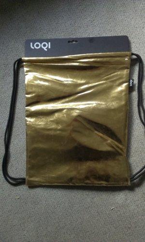 Bolso tipo marsupio negro-color oro