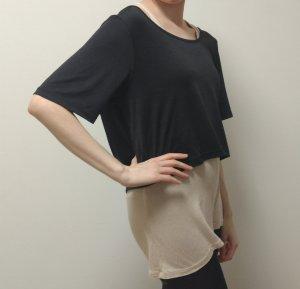 Maglietta sport nero-crema
