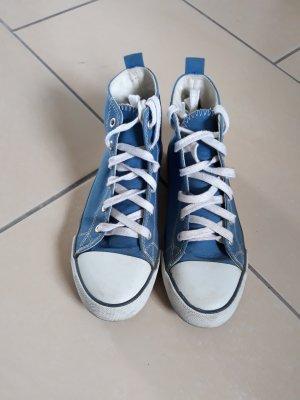 Mocassins blanc-bleu fluo