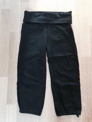Sport-/Yogahose breiter Bund schwarz 3/4-Länge