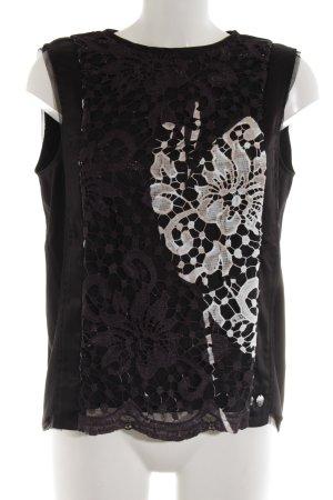 Sportalm ärmellose Bluse schwarz-wollweiß Elegant